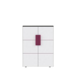 Comodă cu două uşi, gri/albă/mov, LOBETE 40