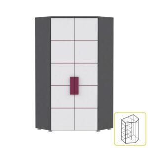 Dulap de colţ combinat, gri/alb/mov, LOBETE 89