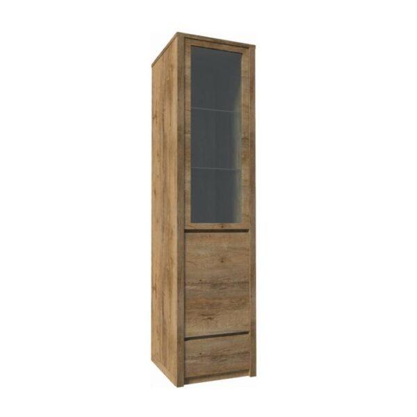 Vitrină cu un sertar şi uşi împărţite ? pline şi cu sticlă, stejar lefkas, MONTANA W1D