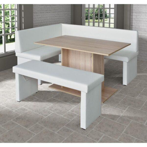 Set dining, alb/stejar sonoma, model stânga, MODERN