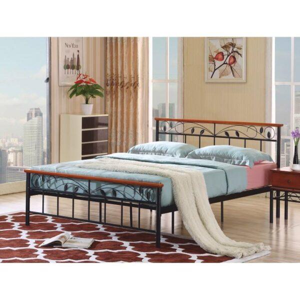 Cadru pat cu somieră lamelară, lemn cireş/metal, 160x200, MORENA