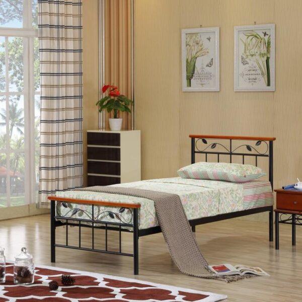 Cadru pat cu somieră lamelară, lemn cireş/metal, 90x200, MORENA