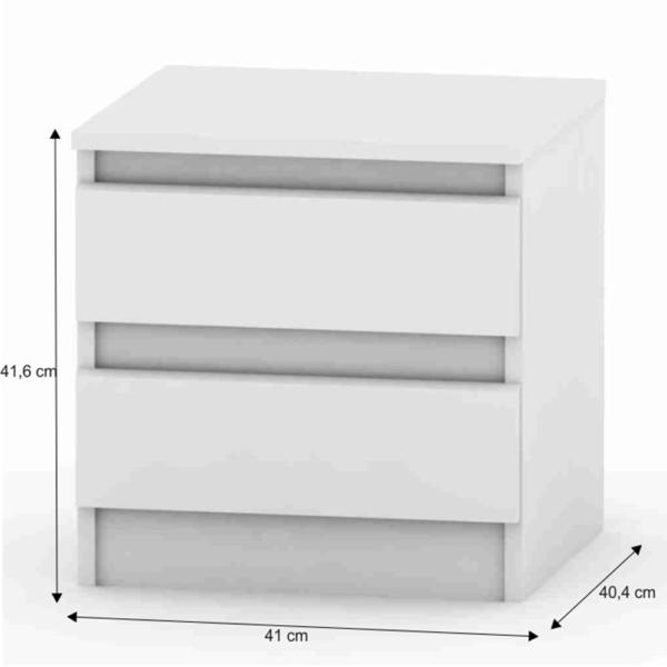 Noptieră cu 2 sertare, albă, HANY 002