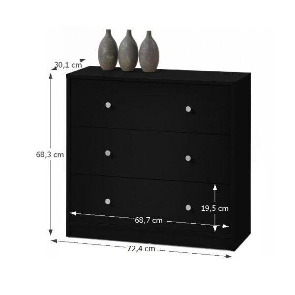 Comodă, 3 sertare, negru, MAY 3