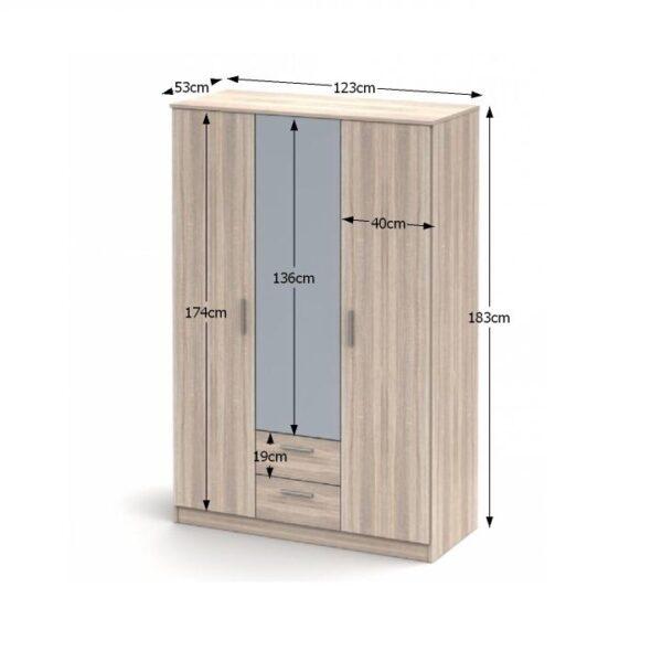 Dulap cu trei uşi şi oglindă, stejar sonoma NOKO-SINGA 82