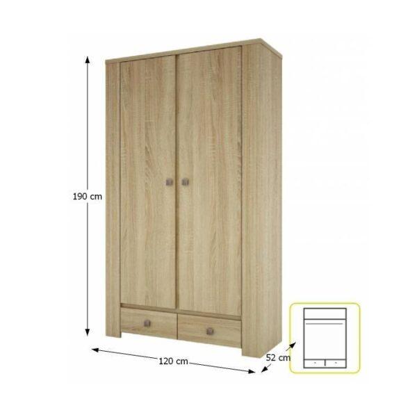 Dulap cu 2 uşi, de haine, tip 11, stejar sonoma, KASIOPEA