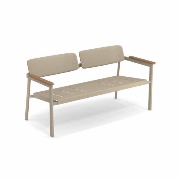 Canapele exterior 2 locuri metalice cu insertii lemn SHINE
