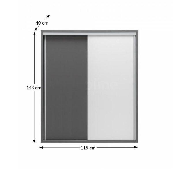 Comodă înaltă, PAL melaminat, gri grafit/alb, MARSIE M9