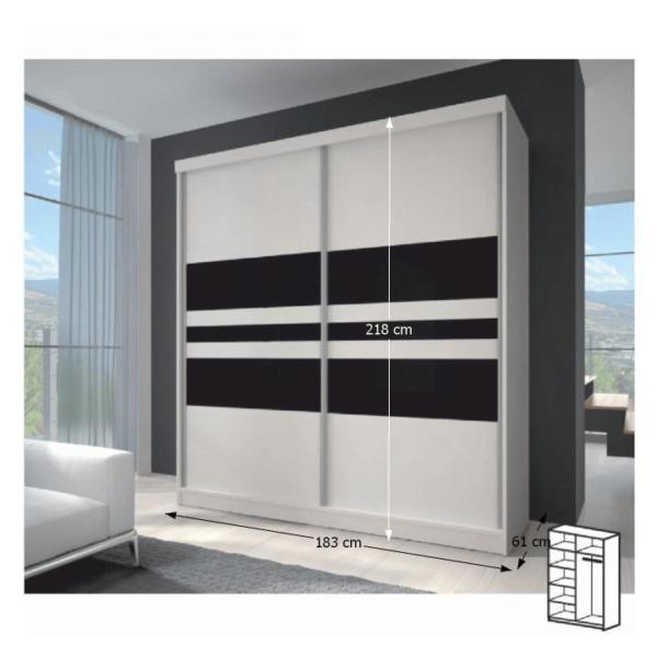 Dulap cu uşi glisante, alb/sticlă neagră, 183x218, MULTI 11