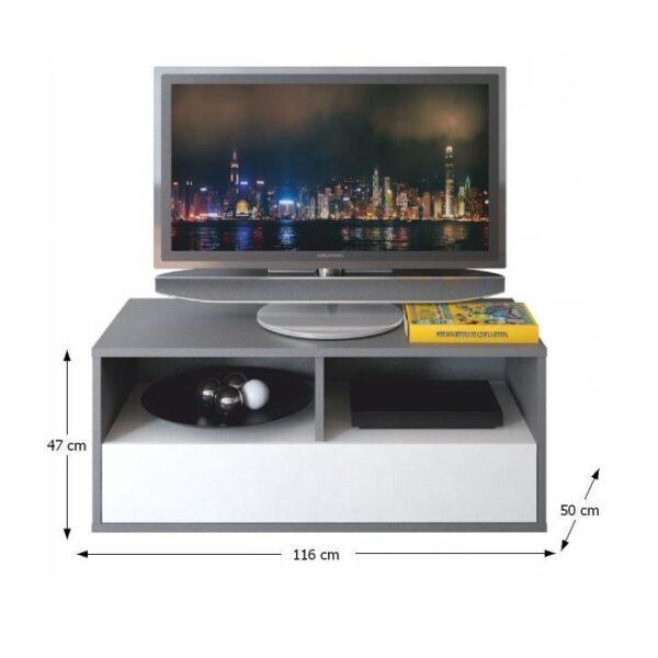 Comodă TV, PAL melaminat, gri grafit/alb, MARSIE M13
