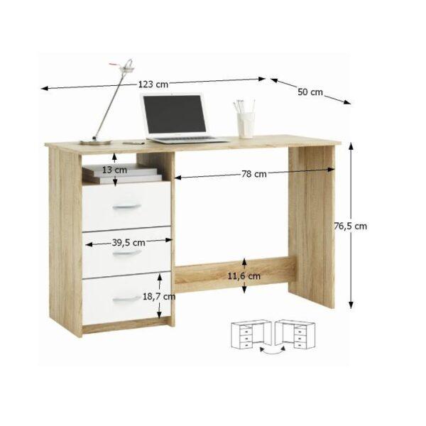 Măsuţa PC , stejar sonoma/alb, LARISTOTE 101000