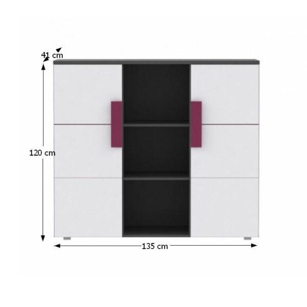 Comodă combinată, gri/albă/mov, LOBETE 43