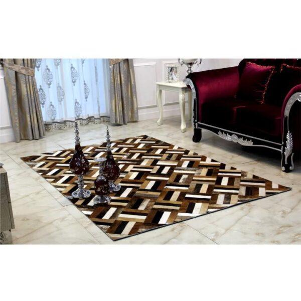 Covor de lux din piele, maro/negru/bej, patchwork, 170x240 , PIELE DE VITĂ TIP 2