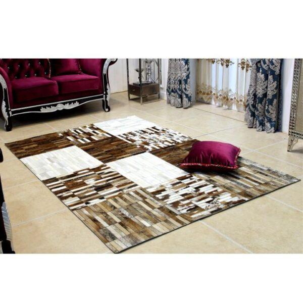 Covor de lux din piele, negru/maro/alb, patchwork, 171x240, PIELE DE VITĂ TIP 4