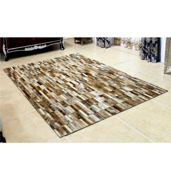 Covor de lux din piele, maro/alb, patchwork, 120x180, PIELE DE VITĂ TIP 5