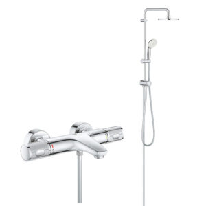 Coloana cada/dus cu termostat, Grohe Grohtherm Performance, palarie 200mm, para dus 3 tipuri jet,crom(34779000,27389002)