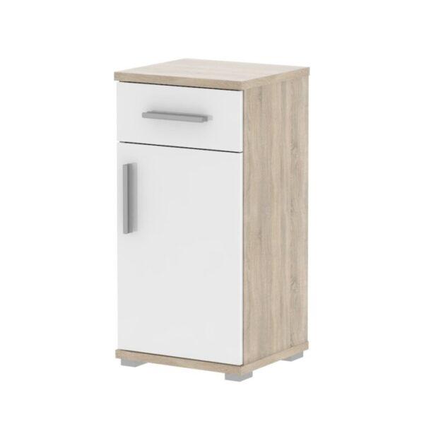 Dulap inferior pentru baie, semi strălucire albă/stejar sonoma, LESSY LI 03