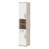 Dulap combinat pentru baie, alb semi strălucire/stejar sonoma, LESSY LI 05