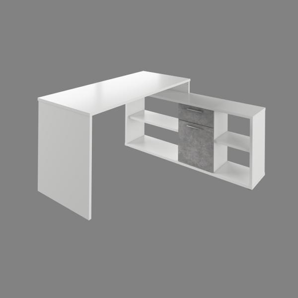 Masa PC, albă/beton, NOE NEW