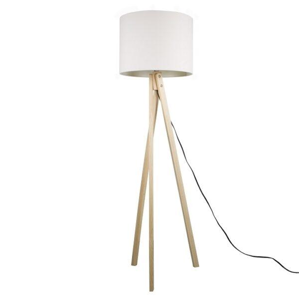 Lampă de podea, albă/lemn natural, LILA TYP 6