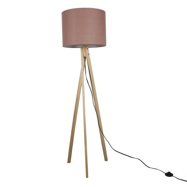 Lampă de podea, Taupe maro/lemn natural, LILA TYP 8 LS2062