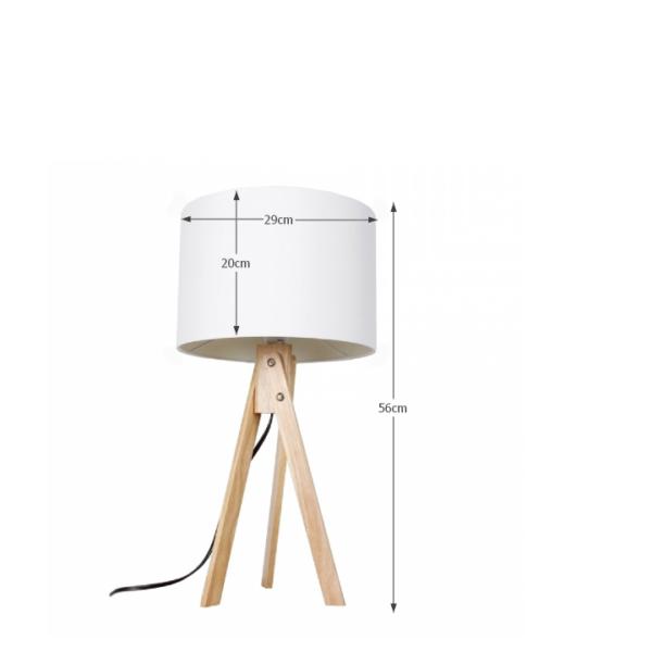 Lampă de masă, alb/lemn natural, LILA TYP 1 LS2002