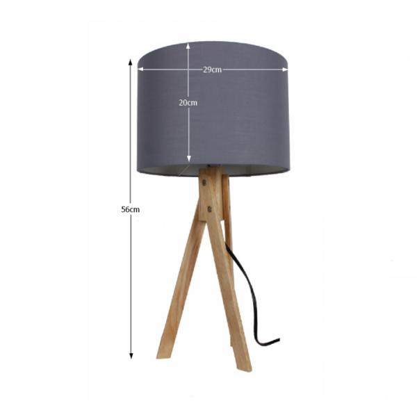 Lampă de masă, gri/lemn natural, LILA TYP 2 LS2002