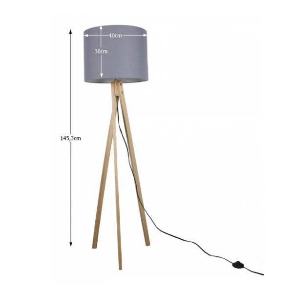 Lampă de podea, gri/lemn natural, LILA TYP 7 LS2062