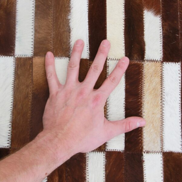 Covor de lux din piele, maro/alb, patchwork, 141x200, PIELE DE VITĂ TIP 5