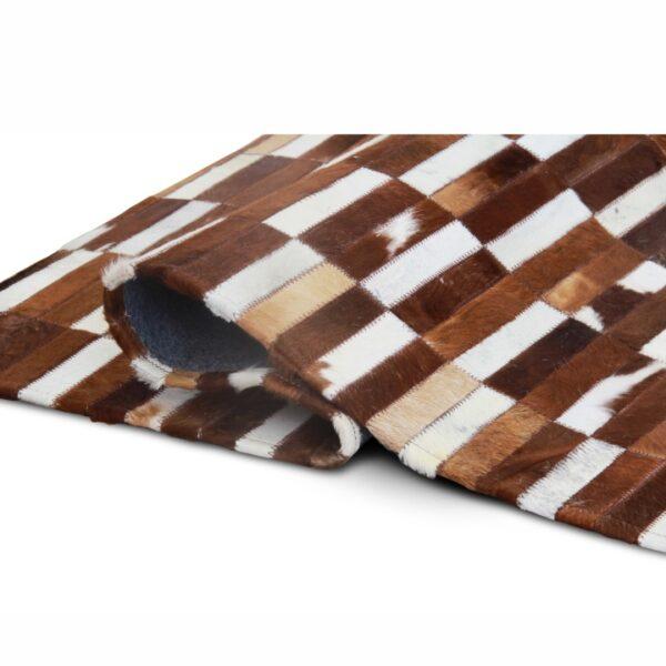 Covor de lux din piele, maro/alb, patchwork, 201x300, Piele de vită Tip 5