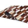 Covor de lux din piele, maro/alb, patchwork, 69x140, PIELE DE VITĂ TIP 5
