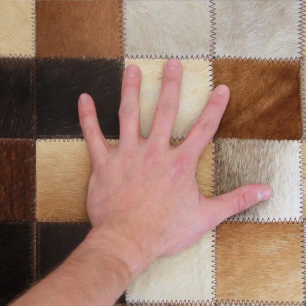Covor de lux din piele, alb/maro/negru, patchwork, 120x180, KOŽA TYP 7