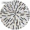 Covor de lux din piele, negru/bej/alb, patchwork, 150x150, PIELE DE VITĂ TIP 8