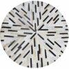 Covor de lux din piele, negru/bej/alb, patchwork, 200x200, PIELE DE VITĂ TIP 8