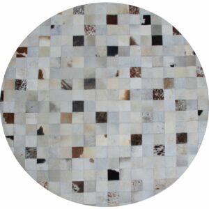 Covor de lux din piele, alb/gri/maro, patchwork, 200x200, PIELE DE VITĂ TIP 10
