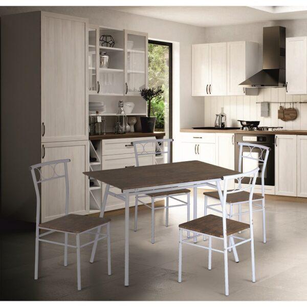 Set dining 1+4, lemn/alb metal, MALABO