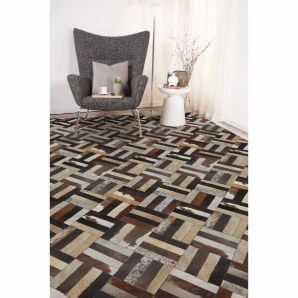 Covor de lux din piele, maro/negru/bej, patchwork, 200x300 , PIELE DE VITĂ TIP 2