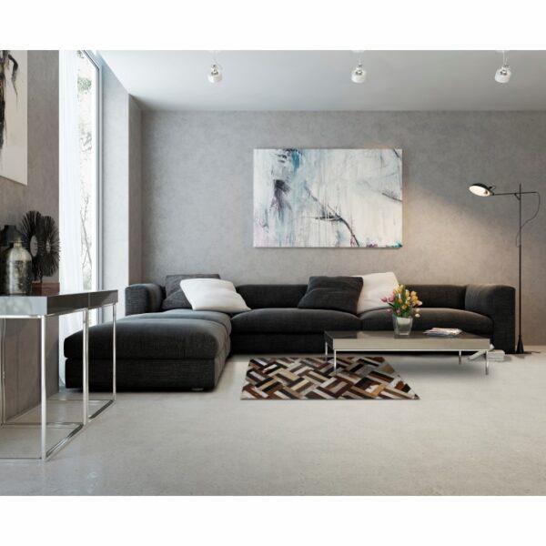 Covor de lux din piele, maro/negru/bej, patchwork, 70x140 , PIELE DE VITĂ TIP 2