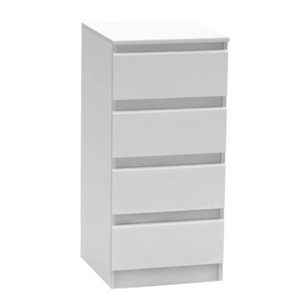 Comodă cu 4 sertare, albă, HANY 009