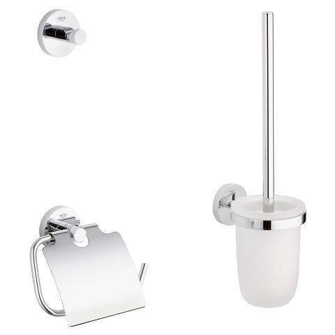 Set accesorii baie Grohe Essentials City 3 in 1, perie WC cu suport, suport hartie igienica, cuier prosop, fixare ascunsa, crom-40407001