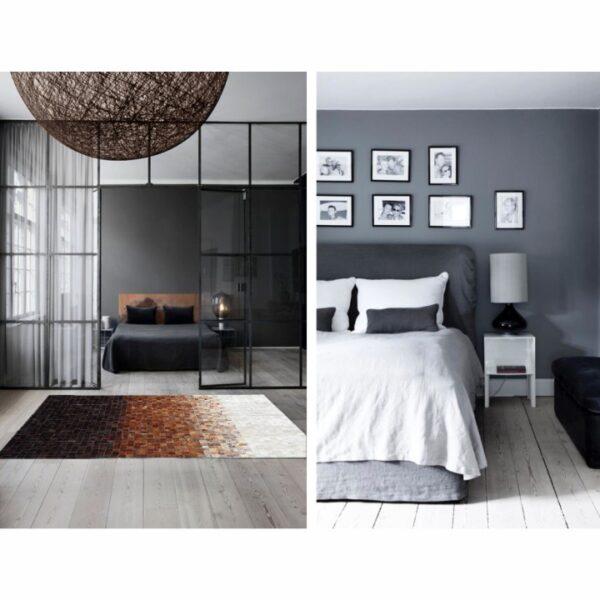 Covor de lux din piele, alb/maro/negru, patchwork, 200x300, KOŽA TYP 7
