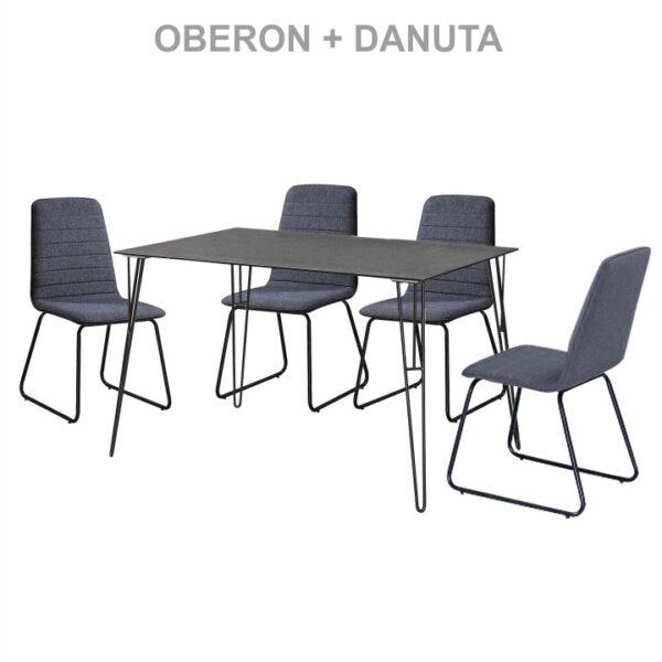 Masă bucătărie, sticlă întărită/metal negru, OBERON