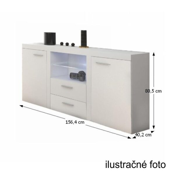 Comodă 2 uşi, 2 sertare, alb, ROCHESTER