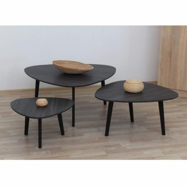 Set 3 măsuţe de cafea, lemn gri/metal, LADON