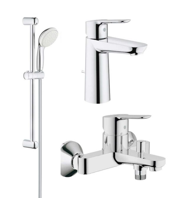 Pachet complet baterii baie inaltime medie Grohe Bau Edge ( 23758000,23334000,27853001)