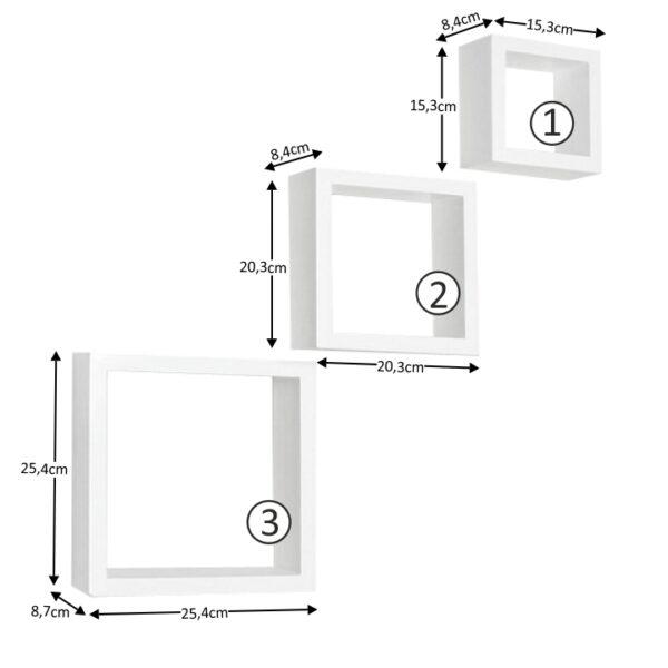 Set rafturi 3 buc, alb, KVADRO NEW DR-WS-6103