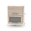 Cabinet superior batant cu sticlă 2DV, stejar sonoma, NOVA PLUS NOPL-009-OH