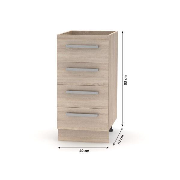 Cabinet inferior cu 4 sertare, stejar sonoma, NOVA PLUS NOPL-055-0S