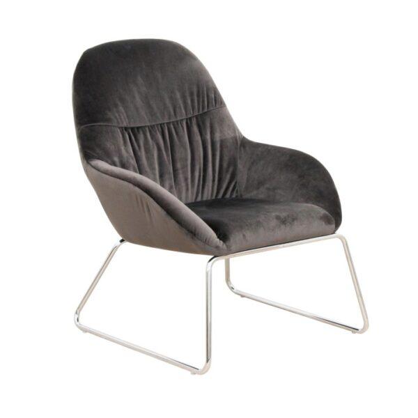Fotoliu de design, material textil gri închis/crom, MARTEL