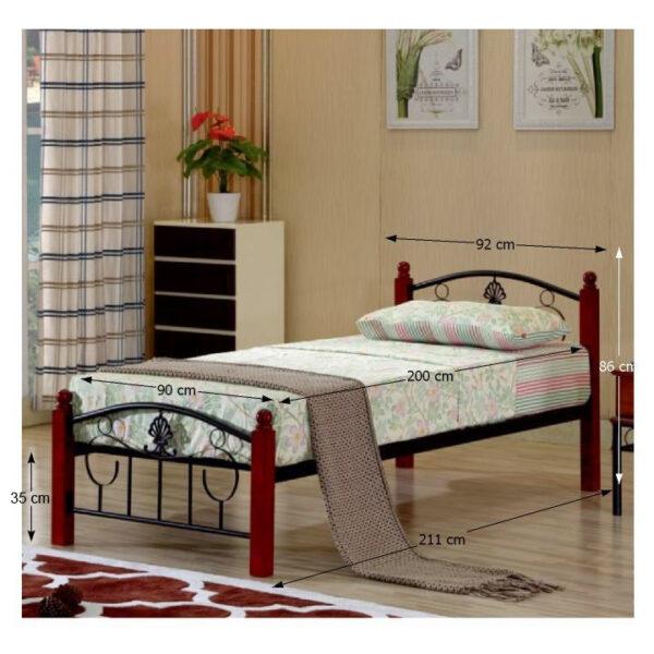 Cadru pat metal cu somieră, 90x200, MAGENTA